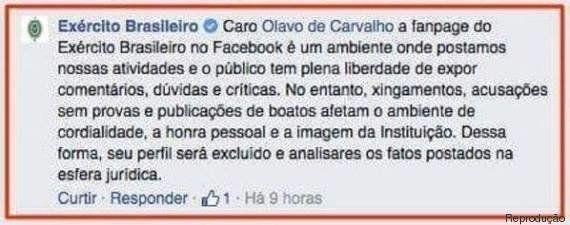 Olavo de Carvalho é expulso da página do Exército Brasileiro no