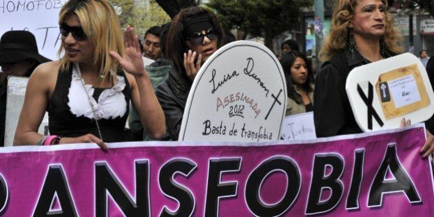 Bolivian members of the transsexual, gay and lesbian community take part in a march during the International...