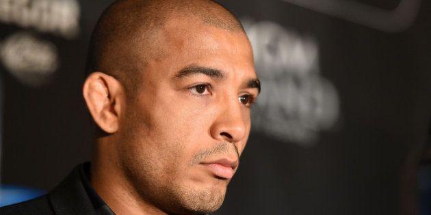 LONDON, ENGLAND - MARCH 30: UFC Featherweight Champion Jose Aldo looks on during the UFC 189 World Championship...