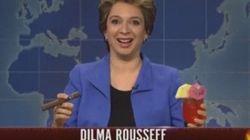 ASSISTA: Com sotaque espanhol e charuto, Dilma Rousseff vira piada no 'Saturday Night