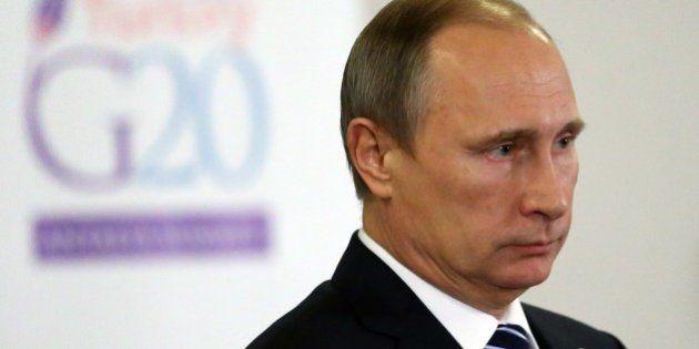ANTALYA, TURKEY - NOVEMBER 16: Russian President Vladimir Putin makes a speech following the G20 Antalya...