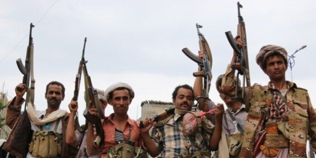IBB, YEMEN - AUGUST 11: Members of Yemeni Popular Resistance Forces loyal to president-in-exile Abd Rabbuh...