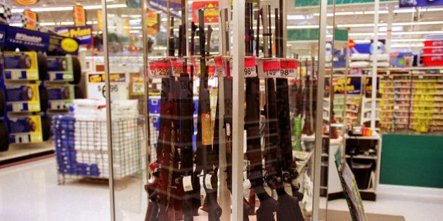373812 02: Guns for sale at a Wal-Mart, July 19, 2000. Wal-Mart and one of their chief spokespeople,...