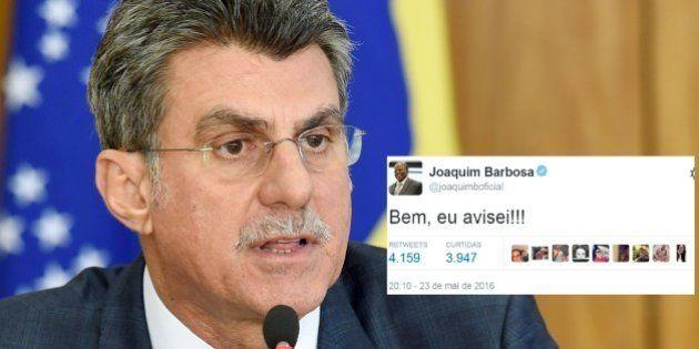 'Bem, eu avisei', diz Joaquim Barbosa após saída de