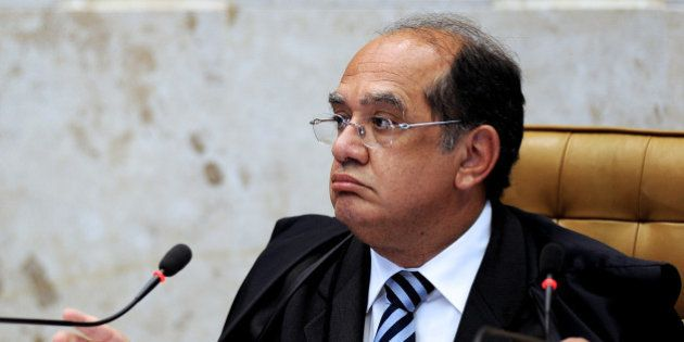 Brazilian Supreme Court President Gilmar Mendes speaks during the trial of Italian Cesare Battisti in...