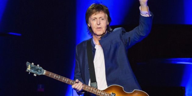 SEATTLE, WA - APRIL 17: Paul McCartney performs on stage during the 'One on One' tour at KeyArena on...
