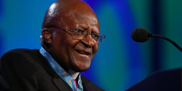ST PAUL, MN - JULY 20: Archbishop Desmond Tutu takes the stage during the 2014 Starkey Hearing Foundation...