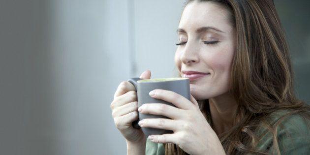 Caucasian woman drinking