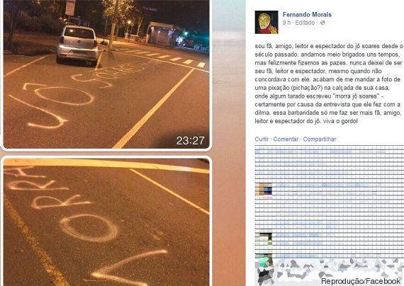 Apresentador Jô Soares é alvo de ameaças e pichação na sua rua após entrevista com