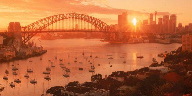 Above anchored architecture Australia bay boats bridge city cityscape coastline color dawn daybreak Harbor...