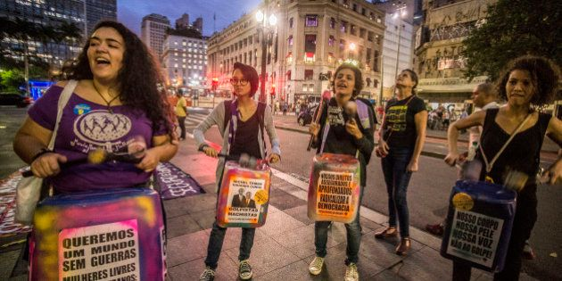SAO PAULO, BRAZIL - APRIL 26: Members of feminist organizations Marcha Mundial das Mulheres and Sempreviva...