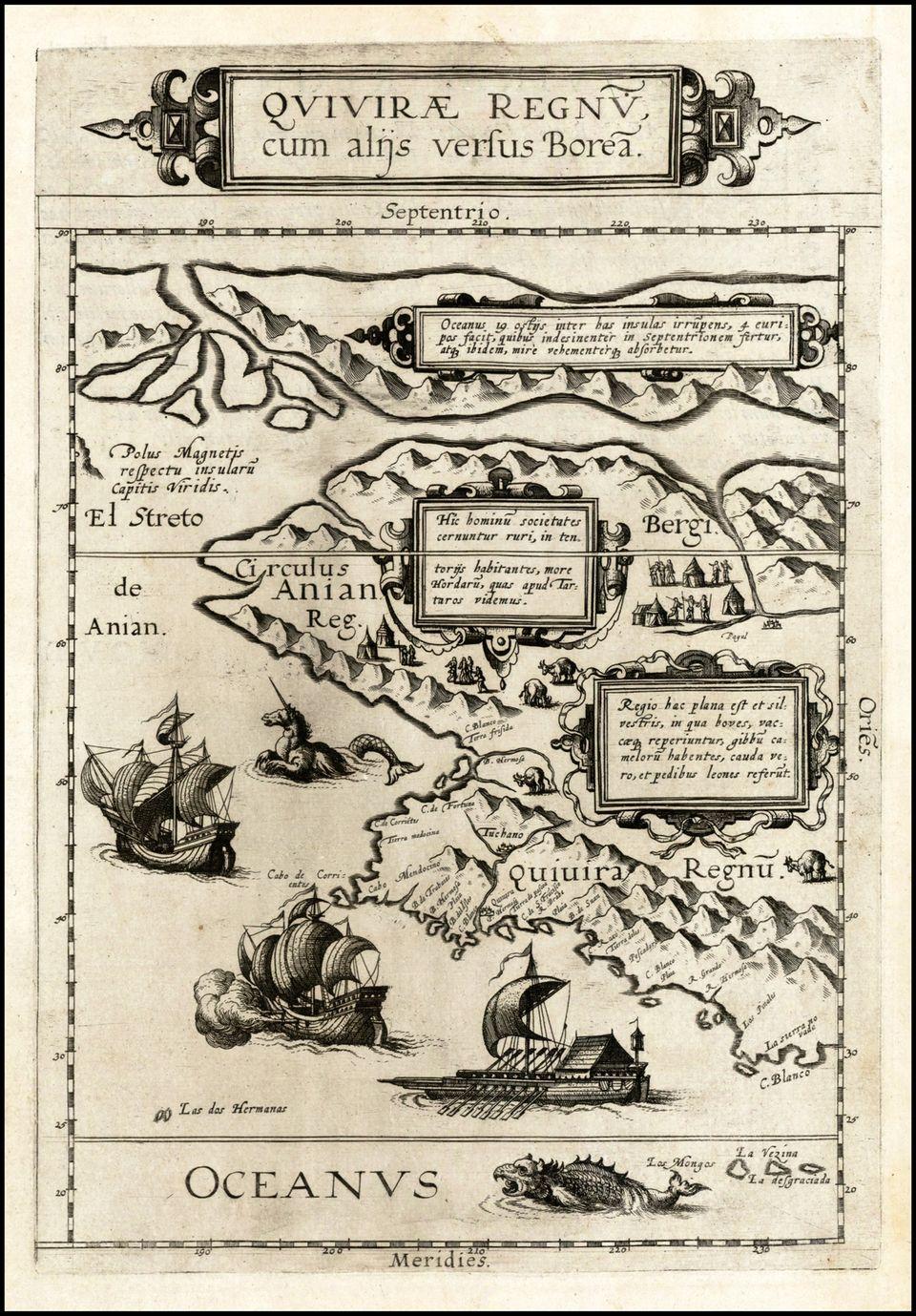 Τα μυθικά Στενά του Anian (Β. Αμερική) σε χάρτη του de Jode το 1593