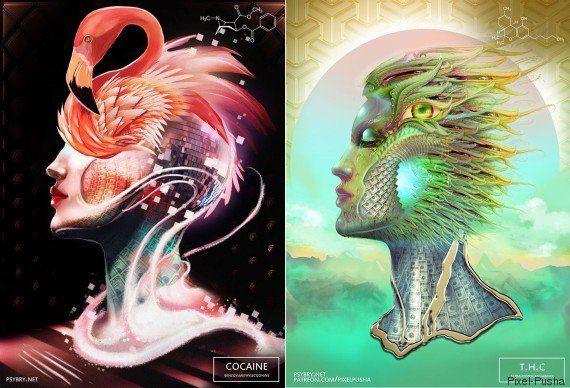 Artista explora os efeitos das drogas para criar 20 ilustrações
