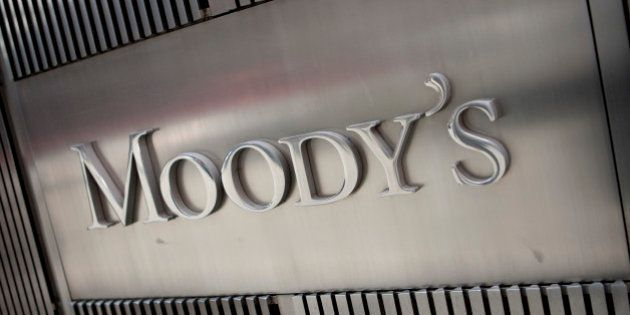 The Moody's Investors Service Inc. logo is displayed outside of the company's headquarters in New York,...