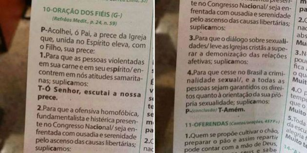 Em folheto de missa, igreja pede que ofensiva homofóbica seja
