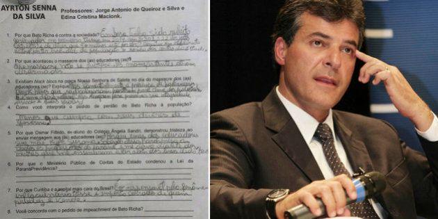 Prova aplicada em escola estadual do Paraná pergunta se alunos são favoráveis ao 'impeachment de Beto