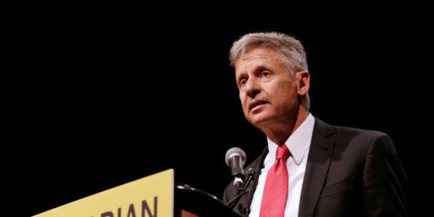 Libertarian Party presidential candidate Gary Johnson gives acceptance speech during National Convention...