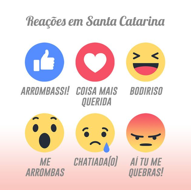 Como seriam as reações do Facebook em cada estado do