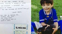 Ganhador da Mega-Sena doa bilhete premiado para menino que precisa de