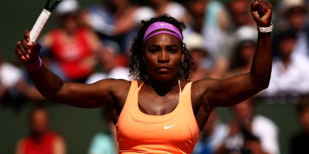 PARIS, FRANCE - JUNE 06: Serena Williams of the United States celebrates a point during the Women's Singles...