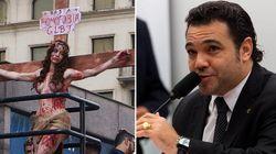 Atriz transexual que encenou crucificação na Parada Gay processa Marco