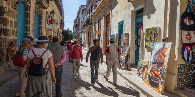 HAVANA, CUBA - FEBRUARY 11: People are seen among the street of Old Havana capital of Cuba on February...