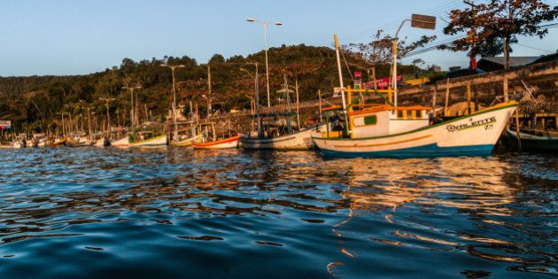 Small fishing boats in the Camboriú River. City of Balneário Camboriú, Santa Catarina, Brazil. (2nd...