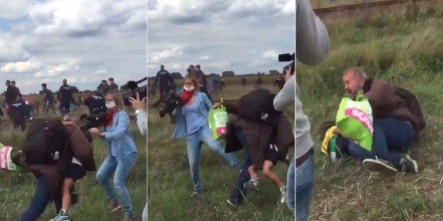 Operadora de câmera é flagrada dando chutes e rasteira em imigrantes na