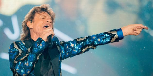 Mick Jagger of the band Rolling Stones performs live on stage at Morumbi Stadium on February 24, 2016...
