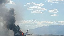 ASSISTA: Avião da British Airways pega fogo em Las