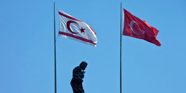 Hillside monument to Kemal Ataturk (1881-1938) in The Turkish Republic of Northern Cyprus. As the first...