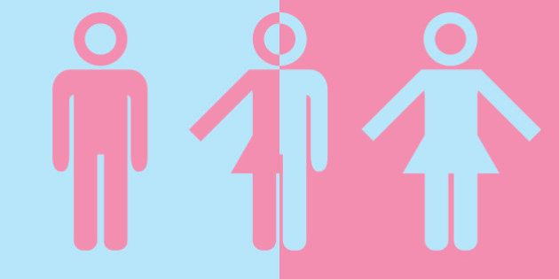 Transgender transsexual concept. Icon of different gender persons with male female marker. Vector illustration...