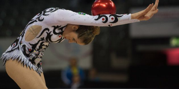 STUTTGART, GERMANY - SEPTEMBER 08: Natalia Gaudio of Brazil competes during the 34th Rhythmic Gymnastics...