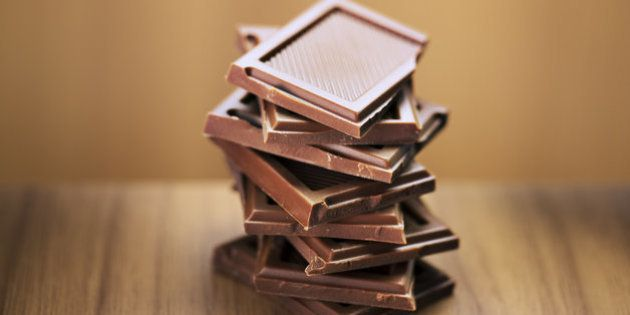 Close up of stack of chocolate