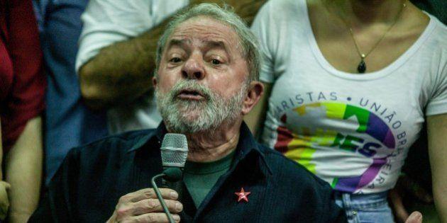 SAO PAULO, BRAZIL - March 4: Former Brazilian President Luiz Inacio Lula da Silva speaks during a press...