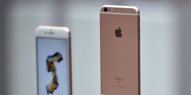 New models of the iPhone 6s are seen displayed during an Apple media event in San Francisco, California...