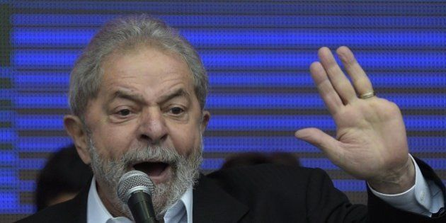Brazilian former President (2003-2011) Luiz Inacio Lula da Silva delivers a speech in Buenos Aires outskirts...