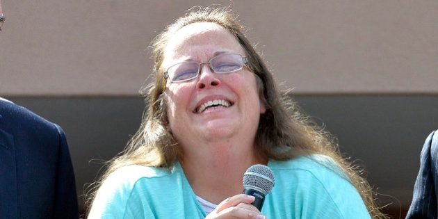 Rowan County Clerk Kim Davis pauses as she speaks after being released from the Carter County Detention...