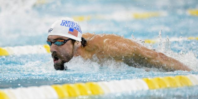 MINNEAPOLIS, MN - NOVEMBER 14: Michael Phelps swims the butterfly in the 200 meter individual medley...