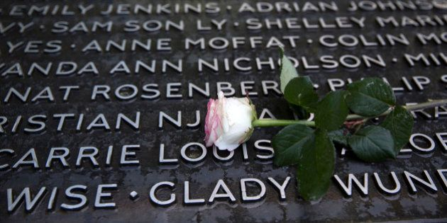 LONDON, ENGLAND - JULY 07: The memorial in Hyde Park commemorating the victims of the July 7, 2005 London...