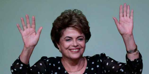 Suspended Brazilian President Dilma Rousseff gestures during the launching ceremony of the
