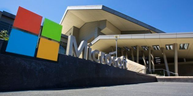 REDMOND, WASHINGTON - JULY 17: The Visitor's Center at Microsoft Headquarters campus is pictured July...