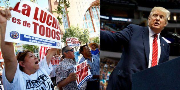 Latinos protestam contra Donald Trump e entram em confronto com partidários de candidato em