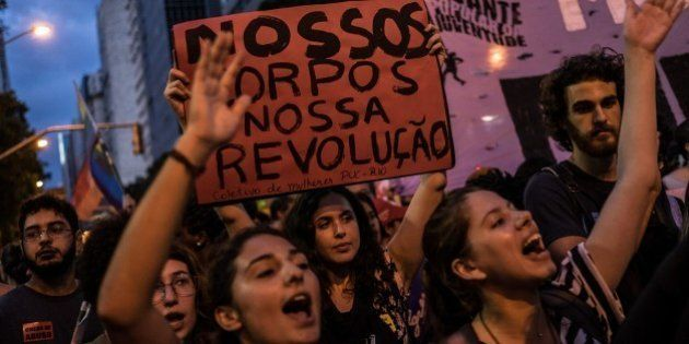 Brazilian women demonstrate in favor of abort legalization and against the president of the Brazilian...
