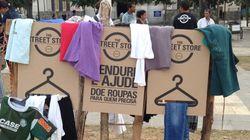 Projeto cria lojas de roupa a céu aberto para moradores de rua irem