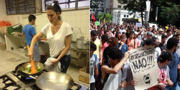 Chef argentina Paola Carosella, do 'MasterChef' dá o seu apoio e cozinha com estudantes de ocupação em