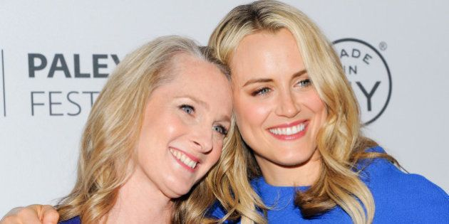 Writer Piper Kerman, left, and actress Taylor Schilling attend PaleyFest: Made In NY