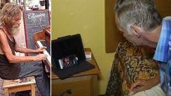 Mendigo famoso por tocar piano consegue falar com filho que não via há 15