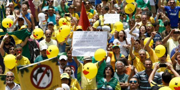 Demonstrators rally in support of Brazilian President Dilma Rousseff's impeachment at Paulista Avenue,...