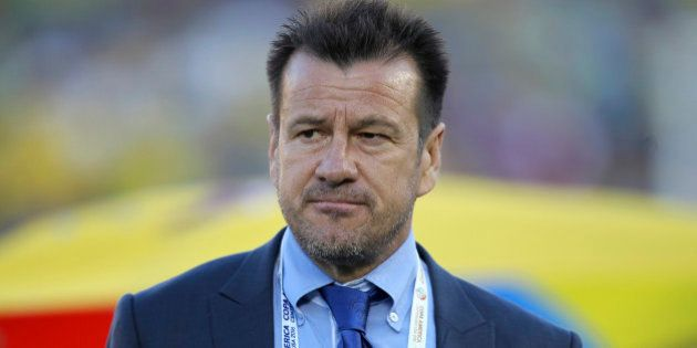 PASADENA, CALIFORNIA - JUNE 04: Coach of Brazil Dunga looks on during a group B match between Brazil...